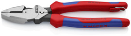 Knipex 0912240TBKA - 9 1/2'' High Leverage Lineman's Pliers New England Comfort Grip w/ Tape Puller & Crimper-Tethered Attachment