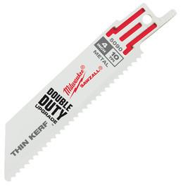 "Milwaukee -  4"" 10 TPI Thin Kerf SAWZALL® Blades (5 Pk) - 48-00-5090"