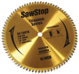 SawStop BTS-P-80HATB - 80-Tooth Titanium Series Premium WoodworKing Blade, 10-Inch with 5/8-Inch Arbor