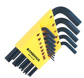 Bondhus -  Set of 13 Hex L-wrenches, Short Length, sizes .050-3/8-Inch - 12237