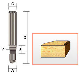 "Kempston 159011 - Bevel Trim Bit, SC, 1/4"" x 1/4"" x 7D"