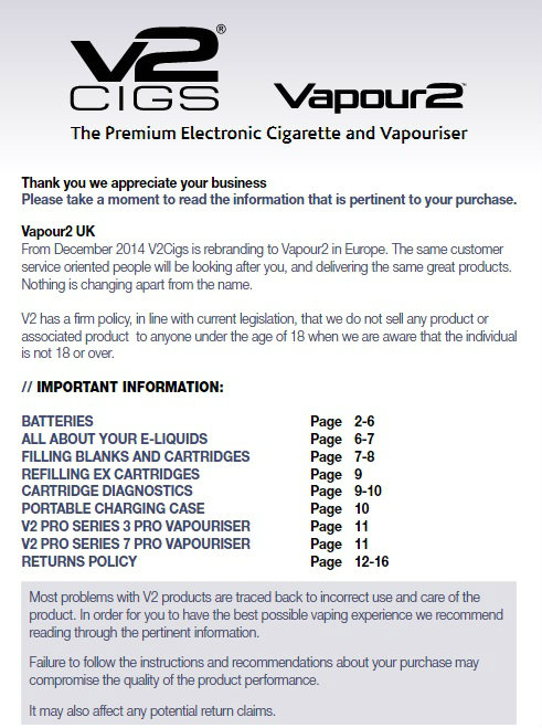 v2 electronic cigarette brochure
