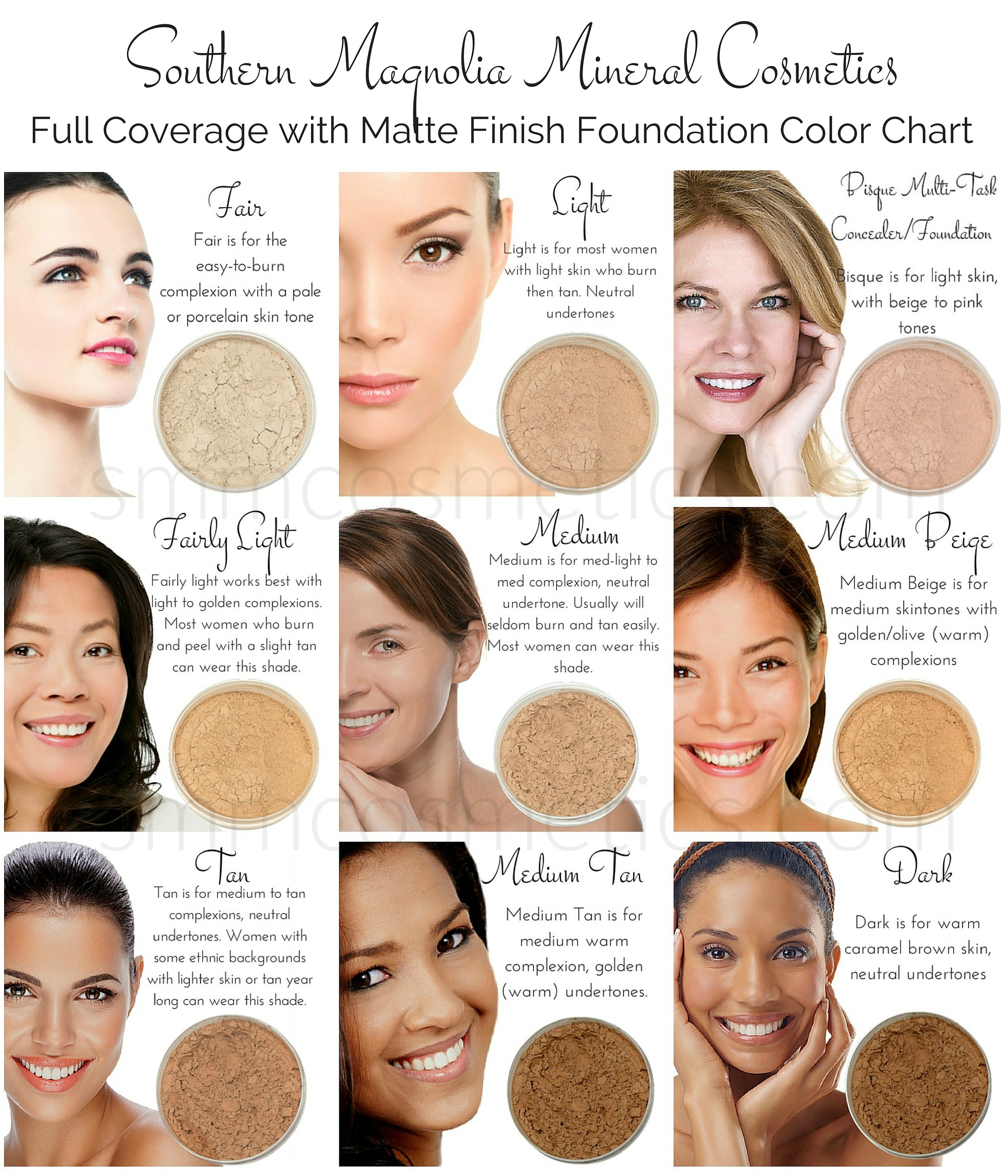Foundation color charts southern magnolia mineral cosmetics for How to get makeup out of white shirt