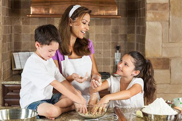 hostess baking in kitchen