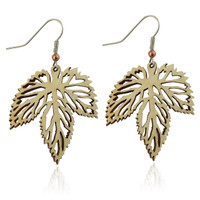 Hops leaf wooden earring in Aspen