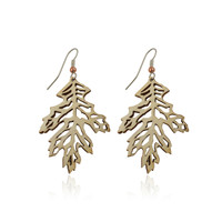 Oak leaf wooden earring in Aspen