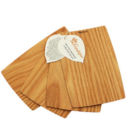 Forestique Barrel Edge Wooden Serving Board with tag-Set of 4- in Red Oak