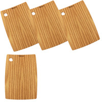 Forestique Barrel Edge Wooden Serving Board-Set of 4- in Red Oak