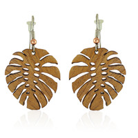 Monstera Wooden Earrings on Koa