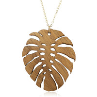 Wooden Monstera Leaf Pendant on Koa