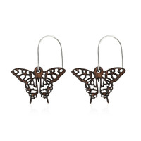 Swallowtail Wooden Earrings Small in African Mahogany