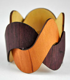 Adrian - Purple Heart / Madrone Woven Wood Cuff Bracelet