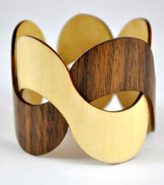Charlotte - Maple / Walnut Woven Wood Bracelet