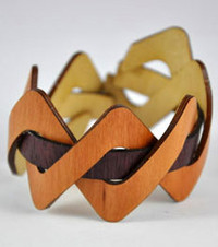 Misty- Madrone / Purple Heart Woven Wood Bracelet