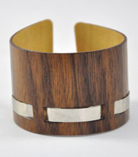 Dylan- Walnut and Nickel Woven Wood Bracelet