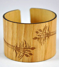 Edith-Pecan Engraved Wood Cuff Bracelet