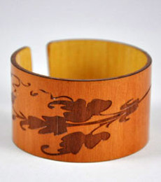 Leaha- Madrone Engraved Wood Cuff Bracelet