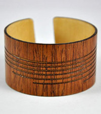 Macey- African Mahogany Wood Engraved Cuff Bracelet
