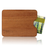 Ribbon Mahogany Wood Business Card Holder
