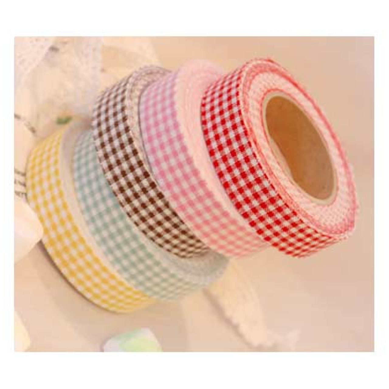 Fabric Tape Mini Check Red Mint Brown Yellow Pink