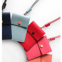Smiley button flat card holder case with neck strap