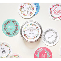 Thanks circle sticker set with tin case