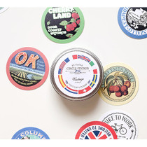 Vintage circle sticker set with tin case