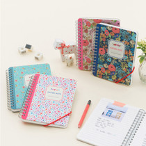 Wirebound flower pattern nature lined notebook small