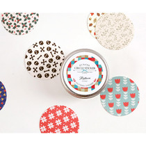 Pattern circle sticker set with tin case