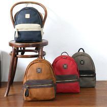 Dual Two tone leather small backpack