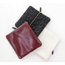 Embossing geometric pattern pouch bag