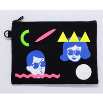 The Front of Tabom neon canvas zipper pouch