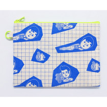 Aurore grid canvas zipper pouch