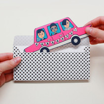 Aurore pink car message card