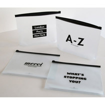 Black typo clear zip lock pouch large