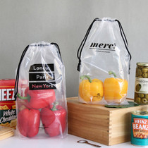 Travel transparent drawstring pouch bag set