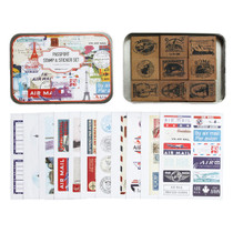Stamps, stickers and Tin case