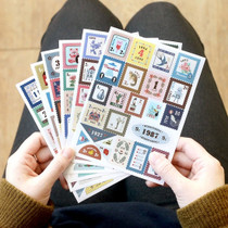 Stamp illustration deco sticker set