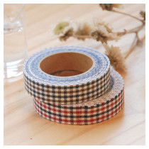 Fabric Tape mini check - red mix, brown mix