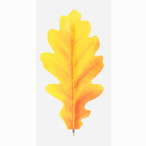 Acorn yellow leaf bookmark black ballpoint pen