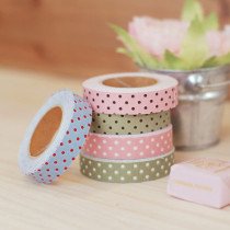Fabric Tape line dot - Blue red, Pink brown, Green brown, Pink white, Green white