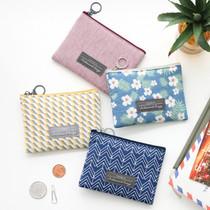 Comely pattern mini flat zipper pouch