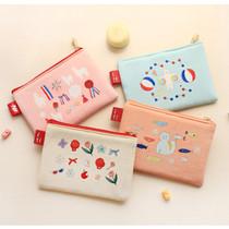 Rim pattern cotton slim zipper pouch (Small)