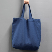Page25 Natural and Pure linen eco large tote bag - Navy