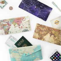 World map pattern soft passport wallet