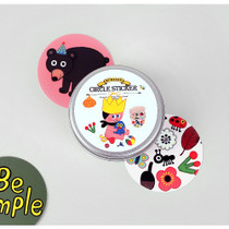 Child circle sticker set with tin case