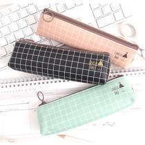 Pastel check pattern zipper pencil case