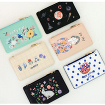 Rim zipper flat card case holder