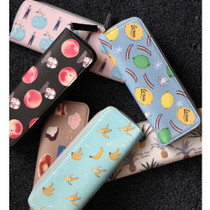 With Alice Rim pattern slim zipper pencil case