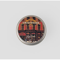New york circle sticker set with tin case